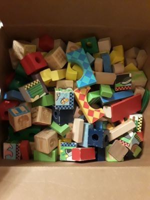 Box of wooden blocks, various shapes and colors