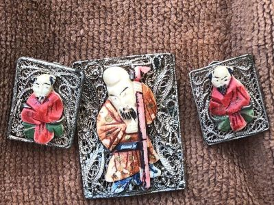 Antique Chinese Silver Filigree Hand Carved & Painted Bovine Bone Earrings & Pin