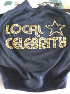 Dog shirt. - Local Celebrity , Solid Black and the Gold is done in sparkly stones
