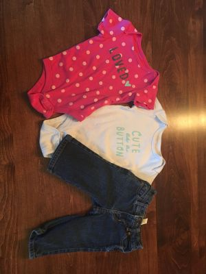 6-12 month onesies with 6 month jeans