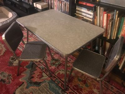 Children s Table and Chair Set Formica and Chrome