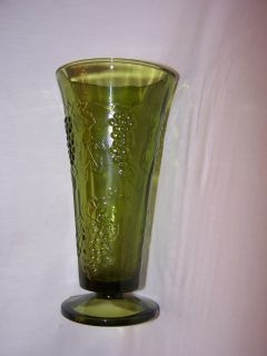 Indiana Glass Green Footed Vase Raised Design