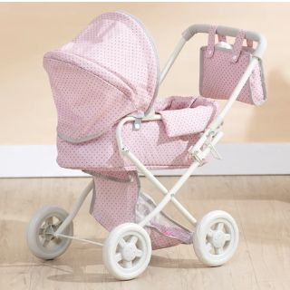 NEW-Olivia's Little World - Polka Dots Princess Baby Doll Deluxe Stroller - Pink & Gray