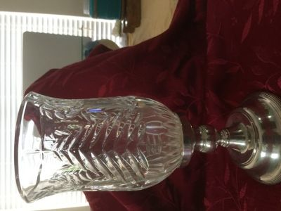 Crystal and silver candle holder