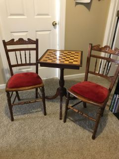 Antique checker board table and two chairs