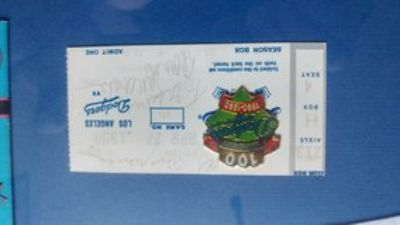 Dodgers pendant with autographed ticket