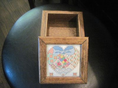 WOODEN BOX WITH HEART CROSS STITCH INSERT