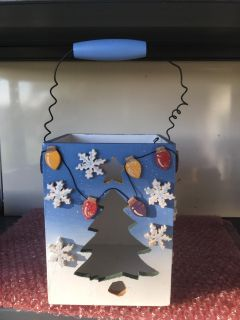 Cute decorative wooden Christmas box candle holder