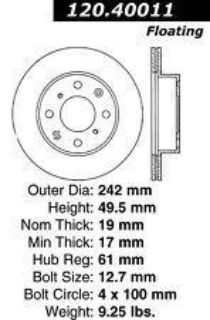 Find Brake Disc Rotor Front Coupe Sedan Honda Accord 1985-1990 motorcycle in Marco Island, Florida, US, for US $19.95