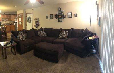Brown microfiber sectional with ottoman