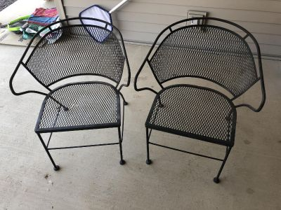 FREE Black iron patio/outside chairs-2