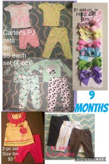 (6 to)9 Month/months Variety of Baby GIRL clothes sizes 9m (also known as 6m - 9m) Plus Hair Accessories-Bow-Clips