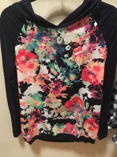 UEC large Floral and navy blue hooded shirt