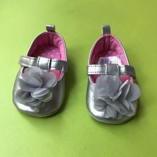 Silver flower shoes
