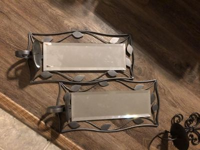 Mirrored wall candle holders