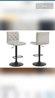 Set of 2 grey adjustable height upholstered barstools
