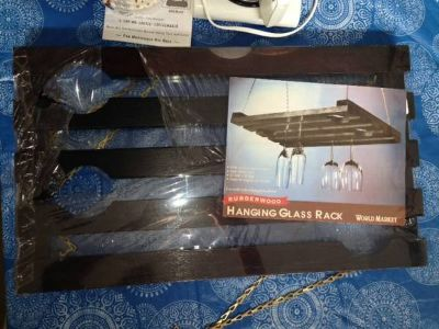 Black hanging glass rack NEW