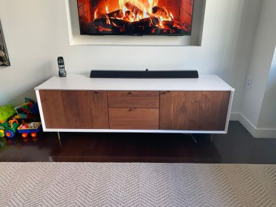 Organic Modernism Wood and Leather Media Console