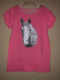Justice Brand Pink Horse Short Sleeve Shirt. Nice Condition. Size 8