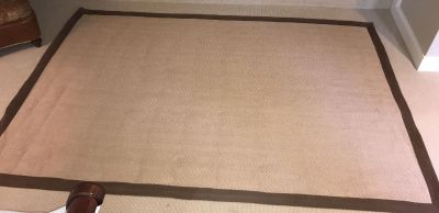 6' By 9' Bordered Jute Rug with Brown Cotton Border