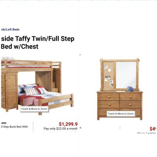 Twin/full bunk with stairs/storage and dresser with mirror