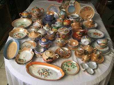 mixed lot hand pained made in japan collectible luster ware tea set plates bowls