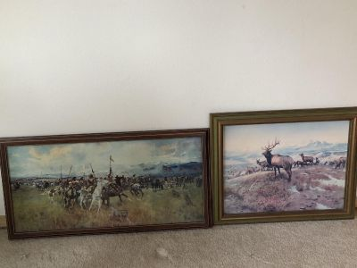 Pair of Vintage 1970s CM Russell framed canvas prints