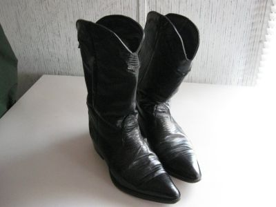 Women's Black Leather Western Boots Size 8M