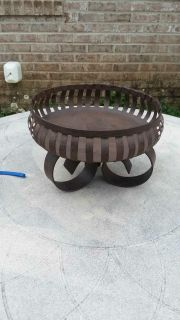"""Heavy metal candle stand or bowl almost 9"""" accross 6"""" tall"""