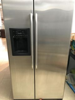 GE stainless steel fridge and gas oven