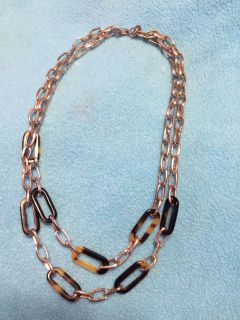 Silver tone and tortoise shell necklace and 2 earring options