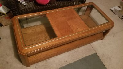 Wooden Coffee Table w/ Glass