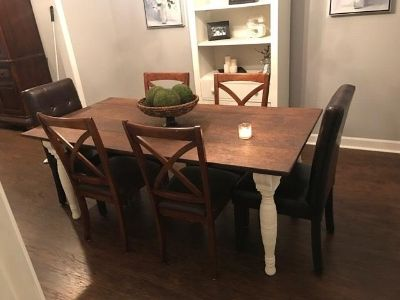 4 Cross Back Wood Dining Chairs
