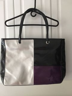 NEW Kenra Black/ Silver/ Purple Patent Tote 12 1/2 D 19 Wide ( See Other Photos)