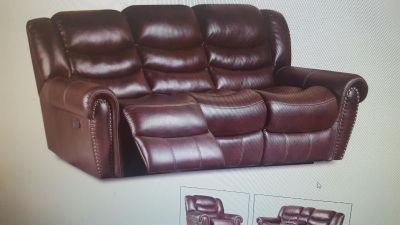 Genuwine Leather 2pc set sofa and love seat recliners