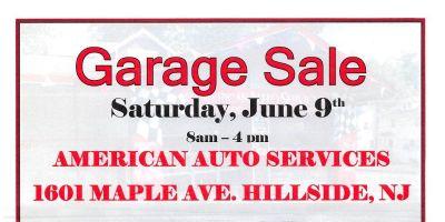 "American Auto Services "" Community Garage Sale "" 1601 Maple Ave. Hillside NJ 07205"