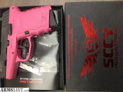 For Sale: SCCY PINK & BLACK 9MM W/ 2 MAGS IN ORIG BOX INV# G-115814-1