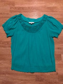 EUC Lrg Northern Tops, teal, white & yellow
