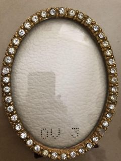 Small oval frame stand up only old burgundy back replaced 2 stones 4 top to bottom