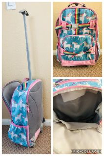 Unicorn rolling backpack from pottery barn.