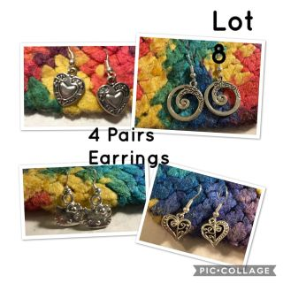 NEW Earrings! 4 Pairs of Girl Child Woman Dainty Dangle Hook Style Costume Silver Earrings-(lot