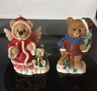 2 Christmas Bears Figurines