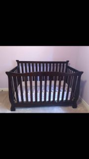Expresso wood crib, mattress and change table