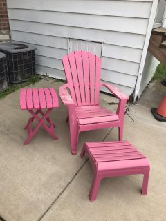 Adirondack Chair, Footstool and Side Table