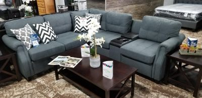 BlueGrey sectional with usb console