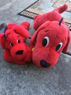 Two clifford the dog plush toys