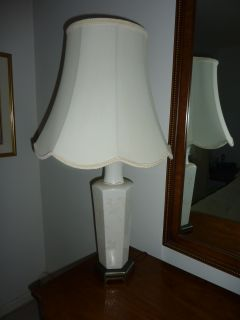 Pair of White Ceramic Lamps with Shades