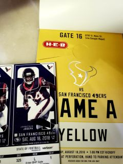 Parking pass and 2 tickets to pre-season Texans vs. 49ers August 18th