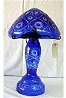 $66 Cobalt Diamond Cut Crystal Mushroom Lamp