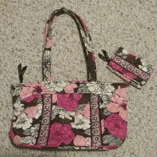 Used Vera Bradley Mocha Rouge Purse and Wallet